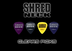 "Shredneck ""CLEARS"" Guitar Picks - 60 Picks - Assorted Colors"