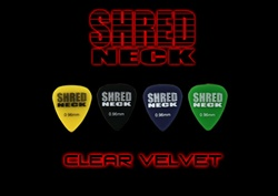 "Shredneck ""CLEAR VELVET"" Guitar Picks - 12 Picks Per Package - Assorted Colors"