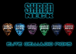 "Shredneck ""ELITE CELLULOID"" Guitar Picks - 60 Picks - Assorted Colors"