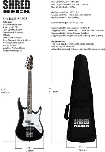 Shredneck Short Scale Bass - STVB-MBL
