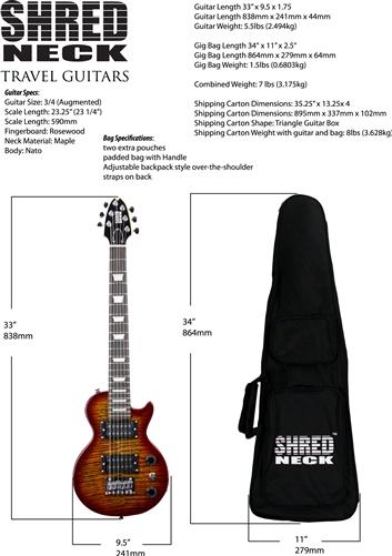 Shredneck Travel Guitar Deluxe Model -STVD-PTB
